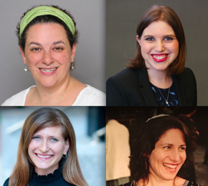 <p>The four Jewish female religious leaders who spoke about feminism and Purim. Top row: Rabbi Ilana Garber, left, and Maharat Dasi Fruchter. Bottom row: Rabbi Leora Kaye , left, and Rabbi Margot Stein.</p>