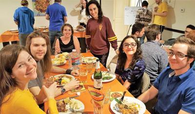 "<p>More than 60 students attend the annual ""Friendsgiving"" meal at the Jewish Arizonans on Campus (JAC) house at Arizona State University. The students gathered for a traditional Thanksgiving meal, in addition to vegan and gluten-free options.</p><p>Photo courtesy of Rabbi Mitch Goldstein</p>"