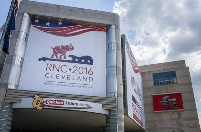 <p>Quicken Loans Arena in Cleveland is decorated to welcome the Republican National Convention, which is scheduled to take place July 18-21.</p>