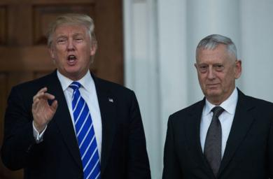 <p>President-elect Donald Trump with retired Gen. James Mattis following their meeting at Trump International Golf Club in Bedminster Township, N.J., Nov. 19, 2016. (Drew Angerer/Getty Images)</p>