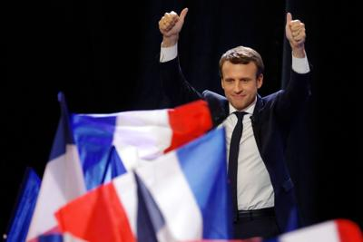 <p>Emmanuel Macron speaking in Paris after advancing to the final round of France's presidential election, April 23, 2017. (Sylvain Lefevre/Getty Images)</p>