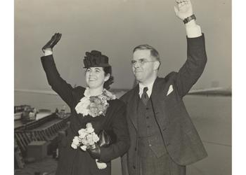 <p>Martha and Watistill Sharp depart New York Harbor for Prague in 1939.</p>