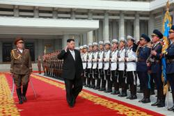 <p>North Korean leader Kim Jong-Un arriving for a military parade in Pyongyang, April 15, 2017. The picture was released the following day by the state's Korean Central News Agency. (STR/AFP/Getty Images)</p>