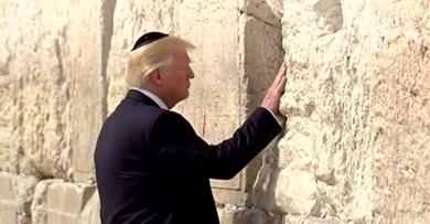 <p>President Donald Trump at the Western Wall Monday.</p>