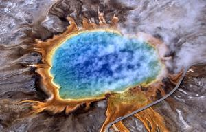 Drone crashes in Grand Prismatic Spring