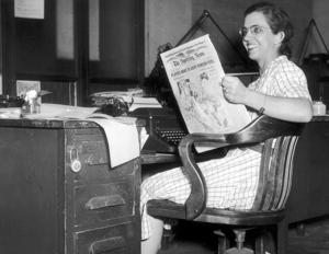 <p>Sports reporter Mary Garber / W-S Journal file photo by Frank Jones around 1949</p>