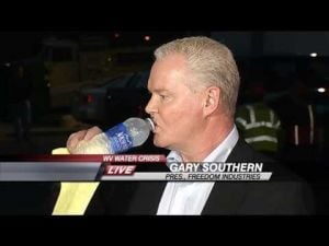Freedom Industries CEO Gary Southern drinking CLEAN water
