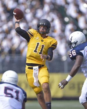 Appalachian State quarterback Taylor Lamb completed 17 of 22 passes for 226 yards and four touchdowns. (Bruce Chapman/Winston Salem-Journal)