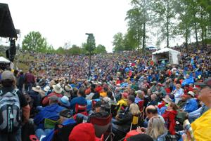 """<p>HUGE CROWD at the Hillside Stage during MerleFest Saturday afternoon for the """"Hillside Album Hour.""""</p>"""