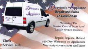 Refrigerator Repair Copperas Cove 254-669-3340 Drayton's Appliance Repair and Sales