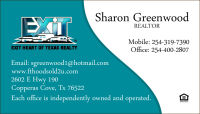Sharon Greenwood 254-319-7390 Copperas Cove, Tx Exit Realty®