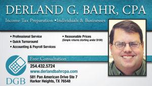 Tax Preparer Harker Heights, TX 254-432-5724 Derland Bahr CPA