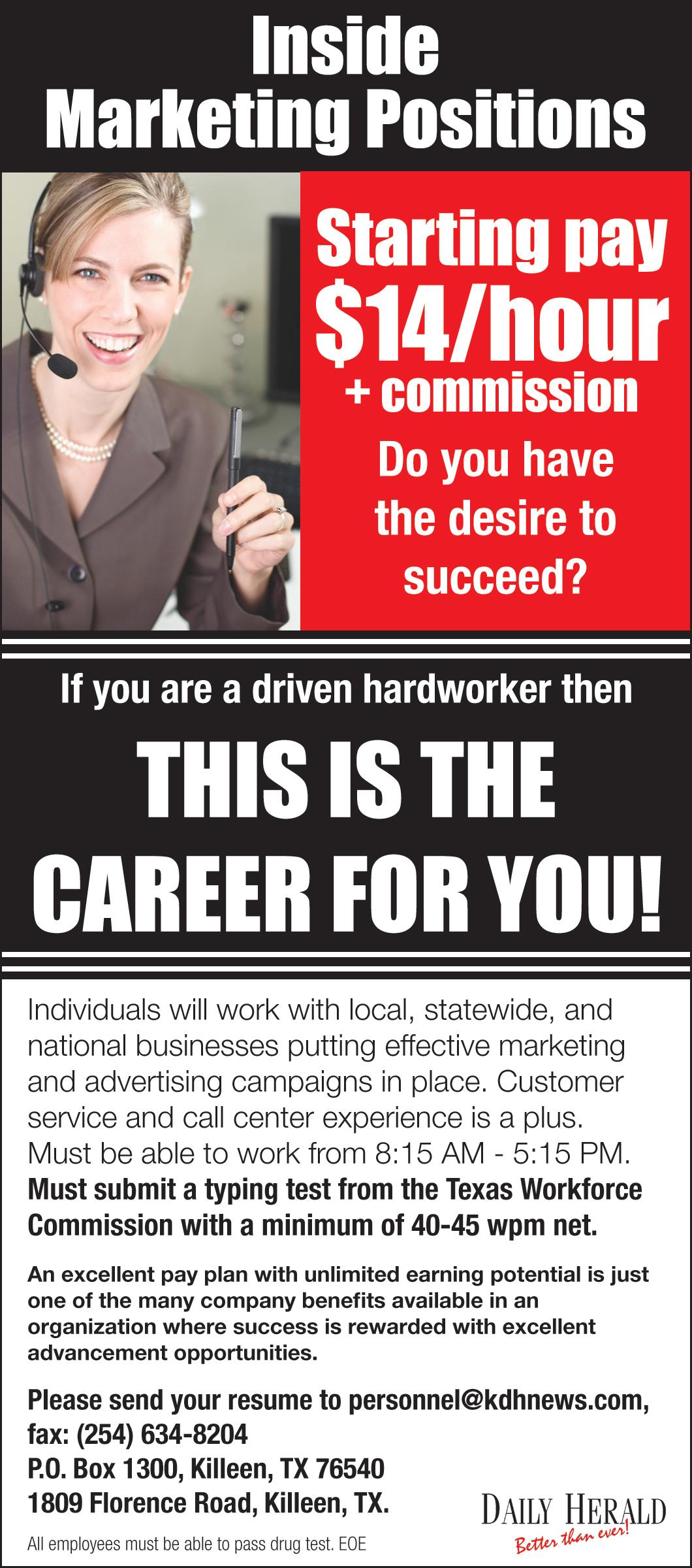 Inside Marketing Positions