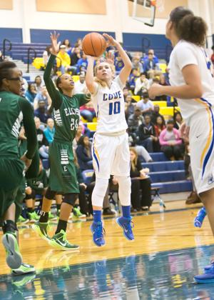 <p>Copperas Cove's Angel Mullen (10) shoots against Ellison on Friday in Copperas Cove.</p>