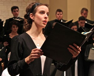 Magnificat: Soprano Caroline Brown, of Temple, sings a solo Tuesday at Manning Chapel at the University of Mary Hardin-Baylor in Belton. The Concert Choir performed Magnificat by J. S. Bach. - Photo by Steve Pettit | Herald