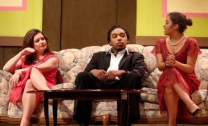 Killeen High School Murder Mystery Production: Rebekah Middleton who plays the part of Elizabeth, Tirik Smith who plays the part of Pierre and Courtney Benitez who plays the part of Mildred speak during the production of