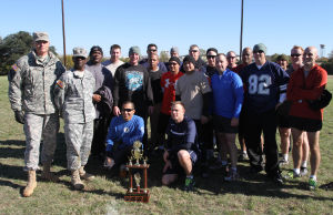 Holiday Bowl: Group photo of the teams have participated in the Holiday Bowl game, U.S. Army Operational Test Command's Ultimate Football Championship on Nov. 27 at Fort Hood. - Jaime Villanueva | Herald