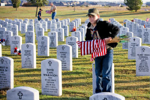 Veterans Day - Scouts: Boy Scout Jaden Minton, 10, places flags on graves at the Central Texas Veterans Cemetery on Monday, Nov. 11, 2013, in honor of Veterans Day. - Jodi Perry | Herald