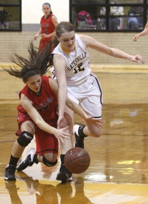 <p>Salado's Sarah Kelarek fights for the ball against Gatesville's Brianna Poe Friday night at Gatesville.</p>