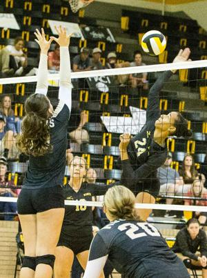 <p>Gatesville's Gracie Lee hits for a point against Rogers in the championship match of the Gatesville Invitational on Saturday at Gatesville High School. The Hornets swept Rogers 25-18, 25-15 for the title.</p>