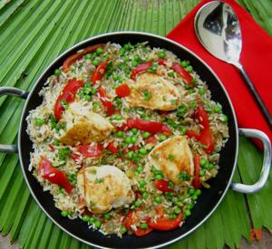 Heat dinner up fast with Puerto Rican chicken and rice