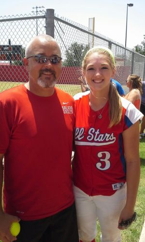 <p>Salado standout pitcher Morgan Hill, right, poses with SHS coach Kory Craddick after the Texas Girls Coaches Association All-State All-Star Game on Friday in Arlington, where she tossed two perfect innings.</p>