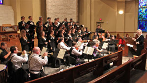 Magnificat: A 14-piece professional orchestra joined the Concert Choir at UMHB under the direction of Michelle Roueche at rehearsal for J. S. Bach's Magnificat Tuesday evening. - Steve Pettit | Herald