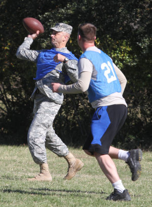 Holiday Bowl: Brig. Gen. Scott Spellmon throws the ball during the Holiday Bowl game, U.S. Army Operational Test Command's Ultimate Football Championship, Nov. 27 at Fort Hood. - Jaime Villanueva | Herald
