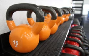 Fort Hood Fitness Centers: Kettle bells are seen as a new addition to the Harvey Physical Fitness Center Thursday morning at Fort Hood. - Photo by Herald/MARIANNE LIJEWSKI