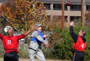 Holiday Bowl: Brig. Gen. Scott Spellmon, commander of U.S. Army Operational Test Command, throws the ball during the Holiday Bowl game,  OTC's Ultimate Football Championship, on Nov. 27. - Jaime Villanueva | Herald