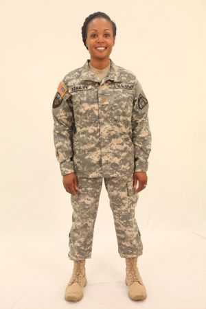 New Uniform: Maj. Laverne Stanley models the new Army combat uniform alternate. - Herald photo