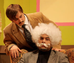 Killeen High School Murder Mystery Production: Manny Brion who plays the part of Col. Craddock speaks with Charles Owens who plays the part of Pratt during the production of