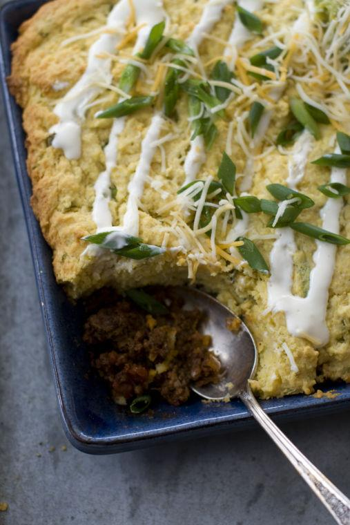 Food Super Bowl Chili Cornbread Pie