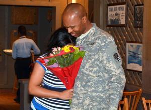 Soldier Surprises Pregnant Wife