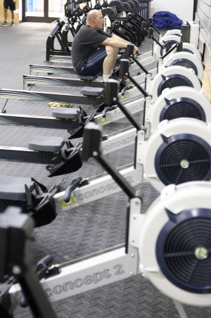 Fort Hood Fitness Centers: A soldier works out on a machine that is a new addition to the Starker Physical Fitness Center Thursday morning at Fort Hood. - Photo by Herald/MARIANNE LIJEWSKI