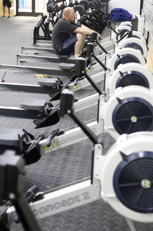 Fort Hood Fitness Centers: A soldier works out on a machine that is a new addition to the Starker Physical Fitness Center Thursday morning at Fort Hood. - Herald/MARIANNE LIJEWSKI