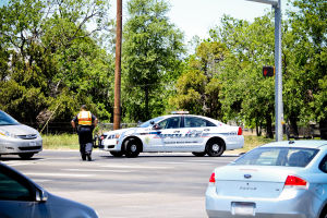 Police reroute traffic after gas line break