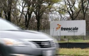 <p>A sign for Freescale Semiconductor is seen in Austin on Sunday, March 9, 2014. The Austin-based technology company says its 20 employees on board a missing Malaysia Airlines flight were en route to a business meeting in China.</p>