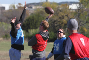 Holiday Bowl: Cpt. Sam Perlick throws the ball during the Holiday Bowl on Nov. 27 at Fort Hood. - Jaime Villanueva | Herald