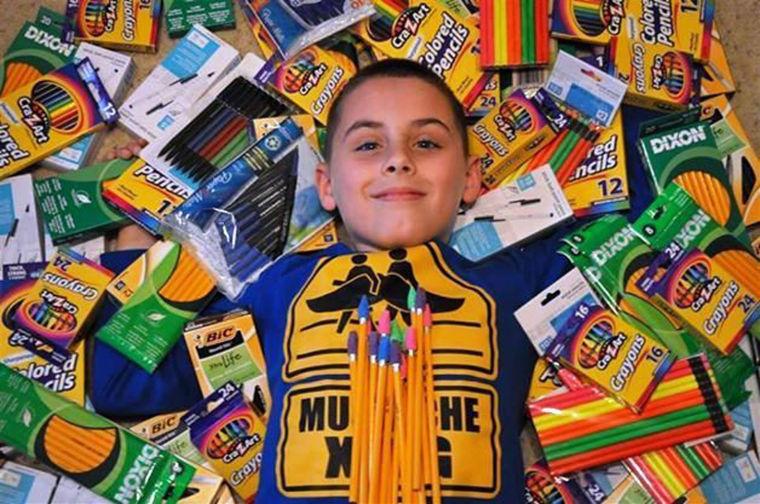 Matthew Northrop surrounds himself with donations