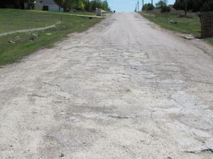 Crumbled road in Coryell County