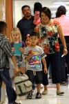 <p>Blanca Burge, a staff member at Hettie Halstead Elementary School in Copperas Cove, walks students to the cafeteria the first day of school Monday, Aug. 26, 2013.</p>