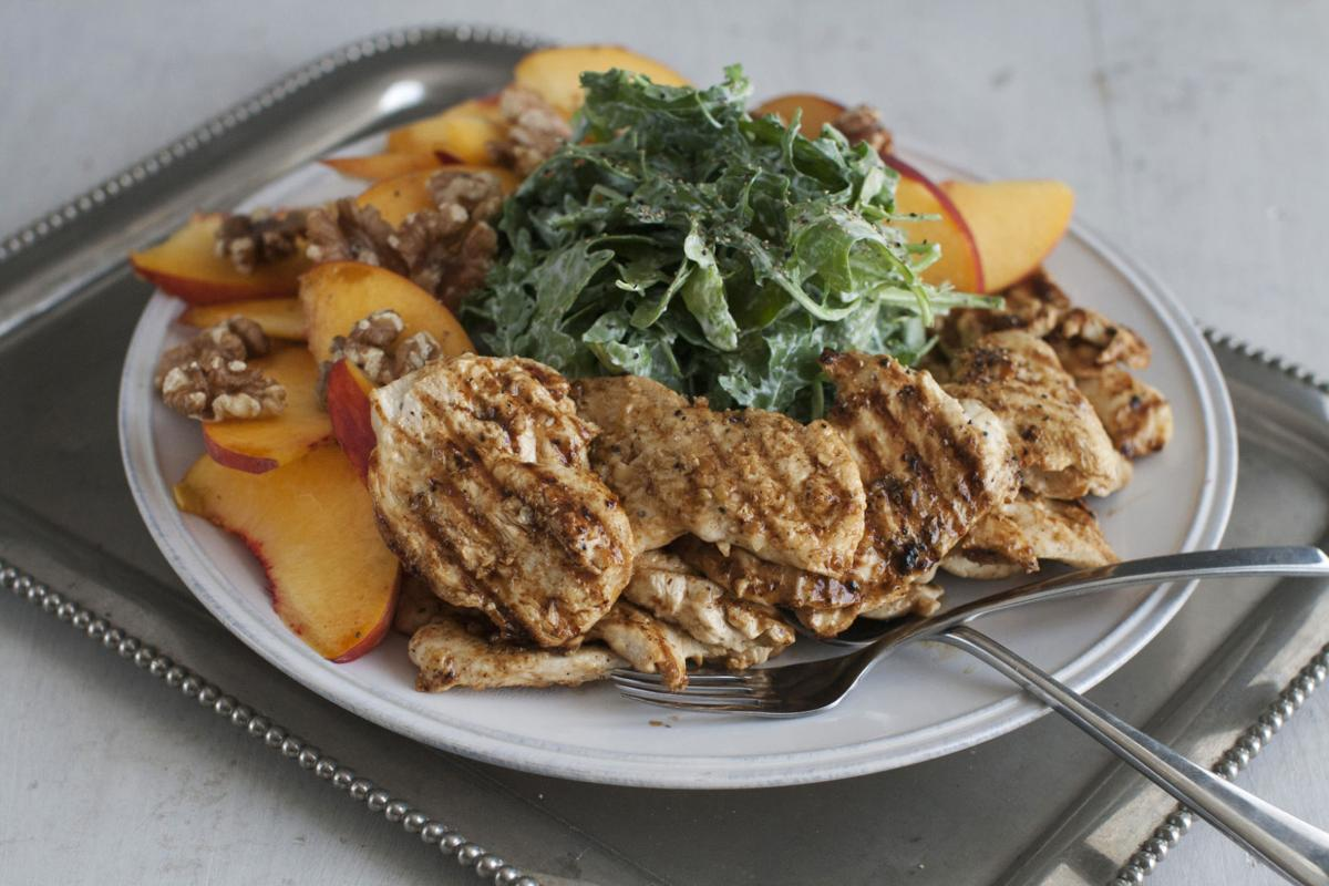 Grilled Chicken Paillards with Peach and Arugula Salad