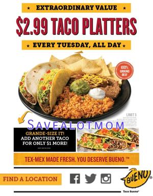 $2.99 Taco Platter from Taco Bueno!