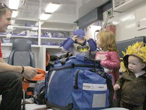 Trick-or-treaters learn about safety