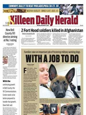 The Killeen Daily Herald newspaper. All of your local news in the Killeen, Harker Heights, Nolanville, Copperas Cove, Belton, Salado and surrounding areas.