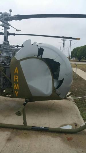 Damaged helicopter