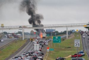 Highway 190 Fire: Traffic is backed up on U.S. Highway 190 Monday as firefighters battle a vehicle fire. An 18-wheeler caught fire, causing the highway to shut down in both directions. - Courtesy photo/Jim Parks