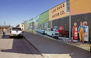 "Lampasas Murals: ""Generations"", located on the north wall of Lampasas Hardware & Contractor Supply at 2nd and Western Streets, depicts the varied businesses that have occupied the building from the late1800's to the present. - Jaime Villanueva 