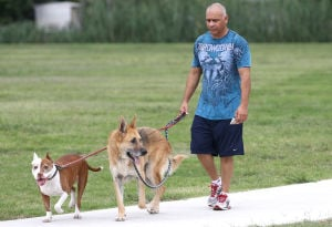 Goode-Connell Park: Hector Ruiz walks his dogs Tex, left, and Max at the new Goode-Connell Park on Friday, Oct. 11, 2013, on Beeline Lane in Harker Heights. - Herald/MARIANNE LIJEWSKI